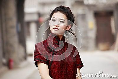 Chinese cheongsam model Stock Photo