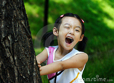 chinese child making faces