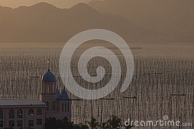 Chinese church and fishing village
