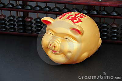 Chinese Coin or piggy bank with Chinese abacus