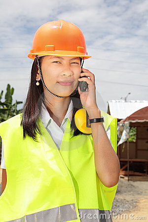Chinese construction engineer woman calling