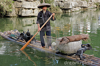 Chinese cormorant fisherman Editorial Stock Image