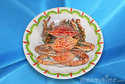Chinese Cuisine,Deep-fried crabs.