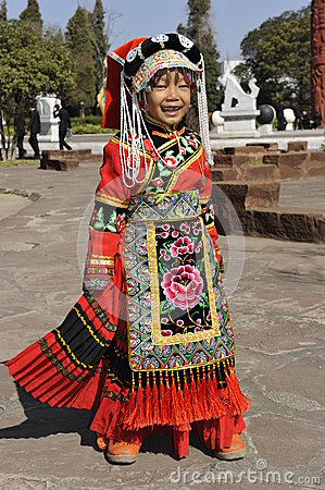 Chinese Cute Girl Posing in Traditional Clothes