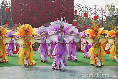 Chinese dance group that were at the concert Editorial Photography
