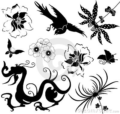 Chinese design elements on white
