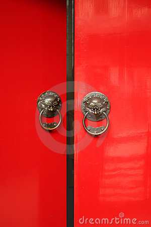 Chinese Door way with Handles and Gargoyles