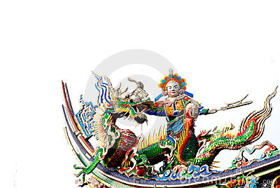 Chinese Dragon and god sculpture