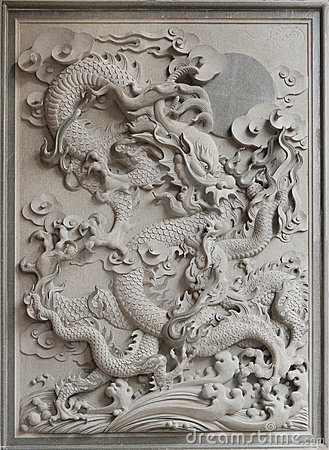 Chinese Dragon Granite Stone Carving Royalty Free Stock