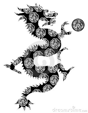 Chinese Dragon Motif Black White Clip Art