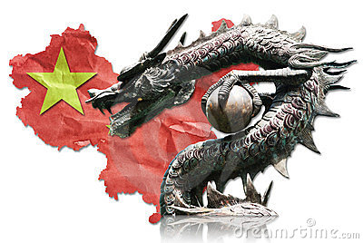 Chinese Dragon statue on Chinese flag.
