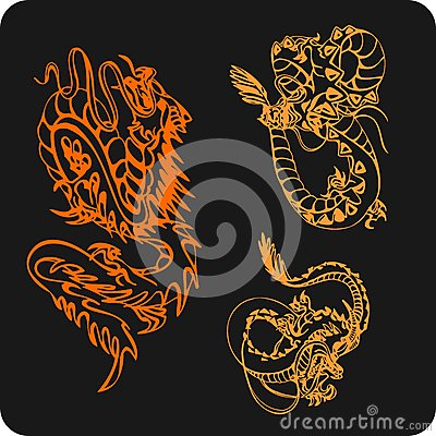 Chinese Dragons - vector set.