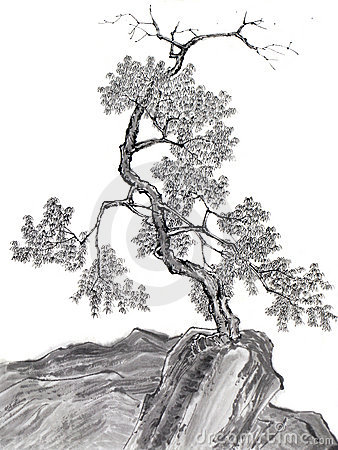 Chinese drawing tree on mountain
