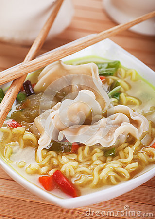 Chinese dumpling and noodle soup