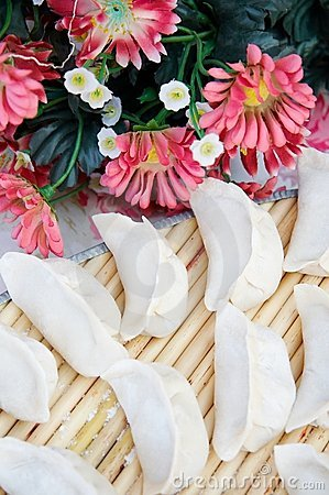 Chinese dumplings and flowers
