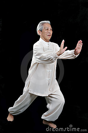 Chinese Elderly performing Tai