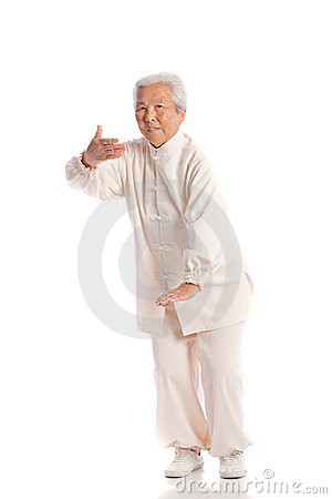 Chinese Elderly Woman Performing Tai Chi