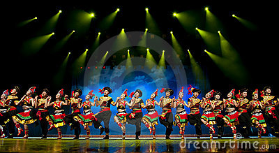 Chinese ethnic dance of Yi nationality Editorial Stock Photo
