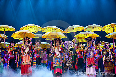 Chinese ethnic dance of Yi nationality Editorial Photo