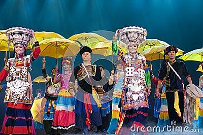 Chinese ethnic dance of Yi nationality Editorial Stock Photo