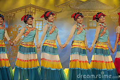 Chinese ethnic dance of Yi nationality Editorial Photography