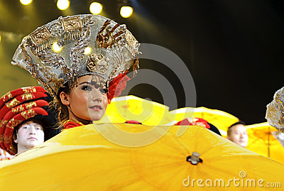 Chinese ethnic dance of Yi nationality Editorial Stock Image
