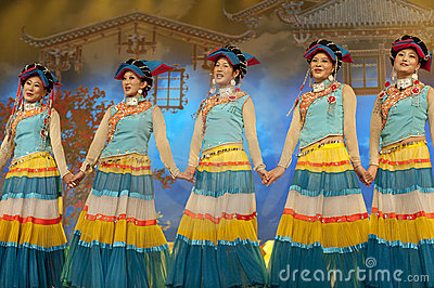 Chinese ethnic dancer of Yi nationality Editorial Photography