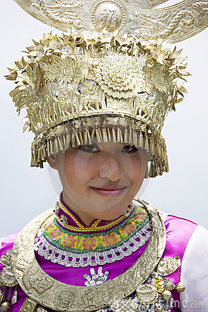 Chinese Ethnic Girl in Traditional Dress