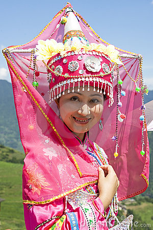 Chinese Ethnic Girl in Traditional Dress Editorial Photo