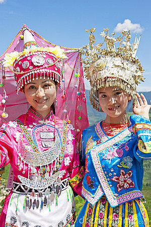 Chinese Ethnic Girls in Traditional Dress Editorial Photography
