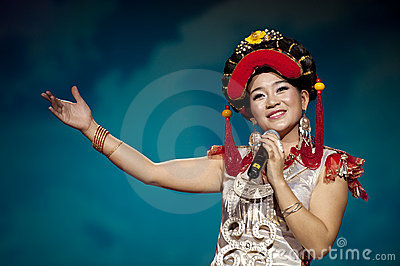 Chinese ethnic singer of Yi nationality Editorial Photography