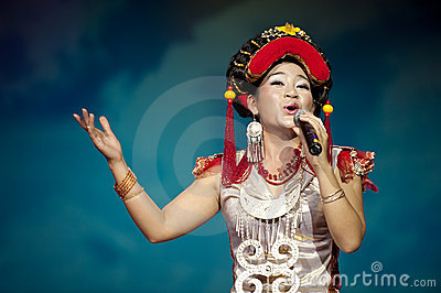Chinese ethnic singer of Yi nationality Editorial Stock Photo