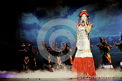 Chinese ethnic singer of Yi nationality Editorial Stock Image