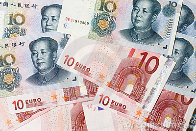 Chinese and Euro currencies