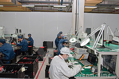 Chinese factory producing Laptop Computers Editorial Image
