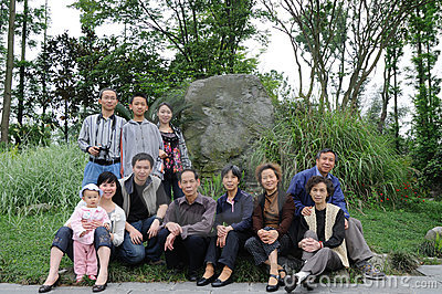 Chinese family in spring