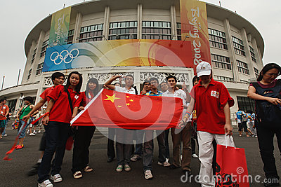 Chinese fans display flag Olympic Stadium Beijing Editorial Photography