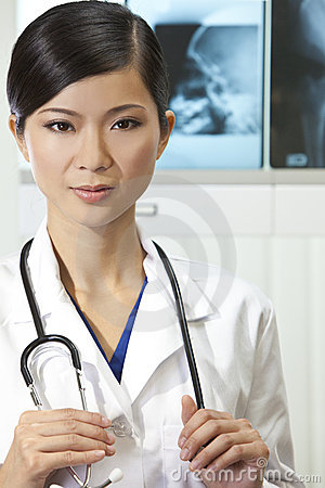 Chinese Female Woman Hospital Doctor with X-Rays