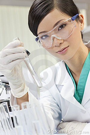 Chinese Female Woman Scientist In Laboratory