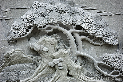 Chinese Feng Shui pine tree carving