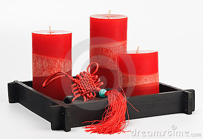 Chinese Fengshui set (talisman, red candles and st