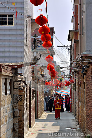 Chinese festival day in countryside of Fujian, South China Editorial Stock Photo