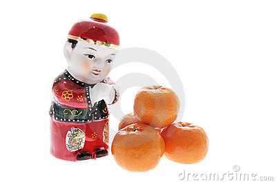 Chinese Figurine and Mandarins