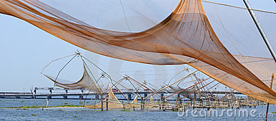 Chinese fishing nets. Vembanad Lake, Kerala