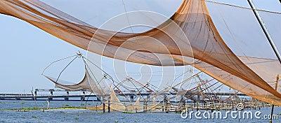 Chinese fishing nets. Vembanad Lake, Kerala