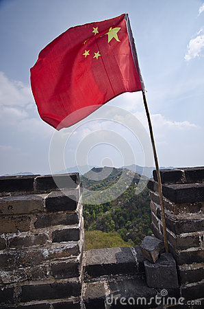 Chinese flag on the Great Wall of China
