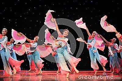 Chinese folk dance- Many people fan dance