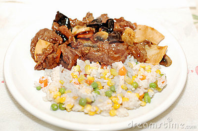 Chinese food chicken with vegetables and rice
