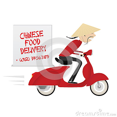 Chinese food delivery boy riding motor bike