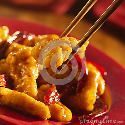 Free Chinese Food - Eating General Tso S Chicken With C Stock Image - 26454501